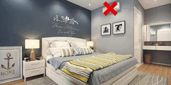 vị trí lắp điều hòa không thích hợp trong phòng ngủ